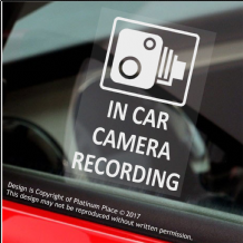 4 x In Car Camera Recording Window Stickers,60x87mm-CCTV Sign-Van,Lorry,Truck,Taxi,Bus,Mini Cab,Minicab.White onto Clear Adhesive Vinyl Signs
